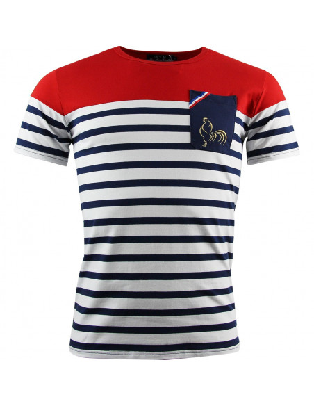 T-shirt rugby Marinière rouge France