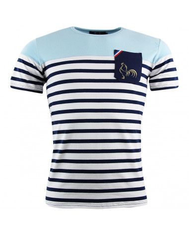 T-shirt rugby Marinière - Ciel