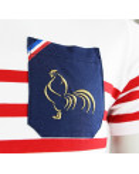 T-shirt rugby Marinière Féria poche Bleu