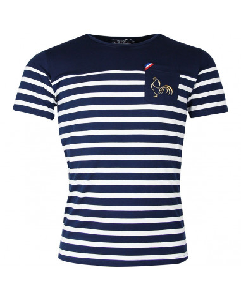 T-shirt rugby Marinière Marine